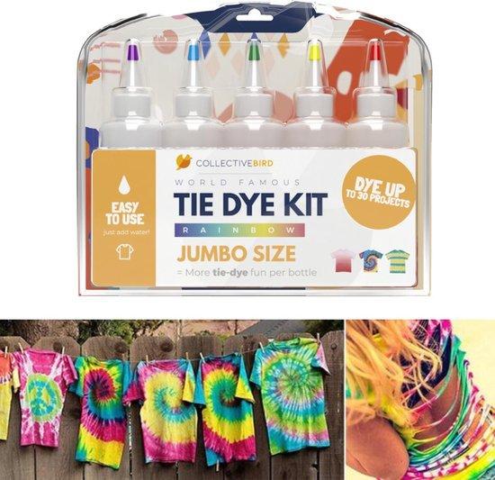TIE DYE KIT - 5 grote flessen - Complete kit - Textielverf - Batikken - Maak je eigen T-shirt