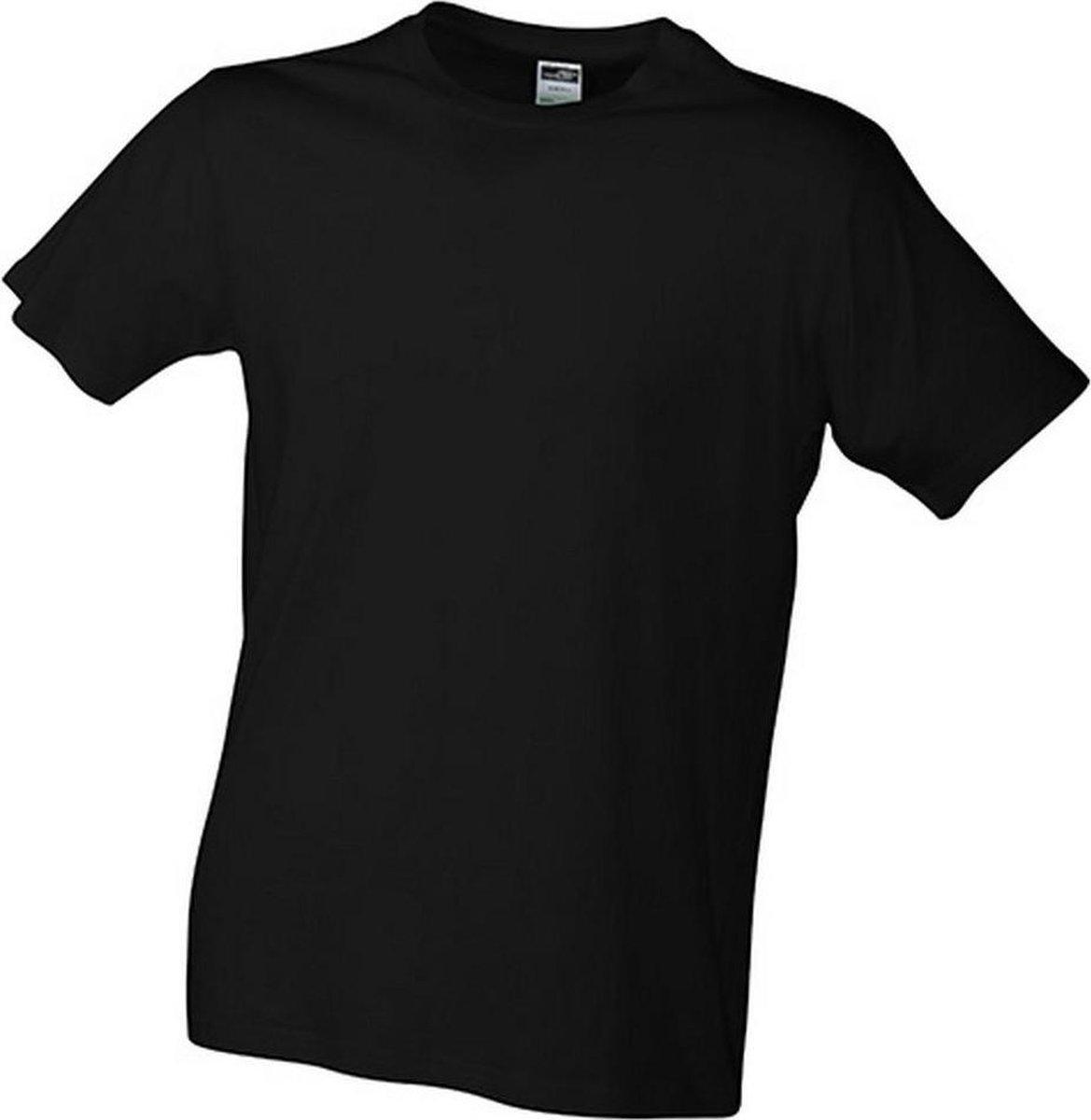 James and Nicholson Heren Slim Fit T-Shirt (Zwart)