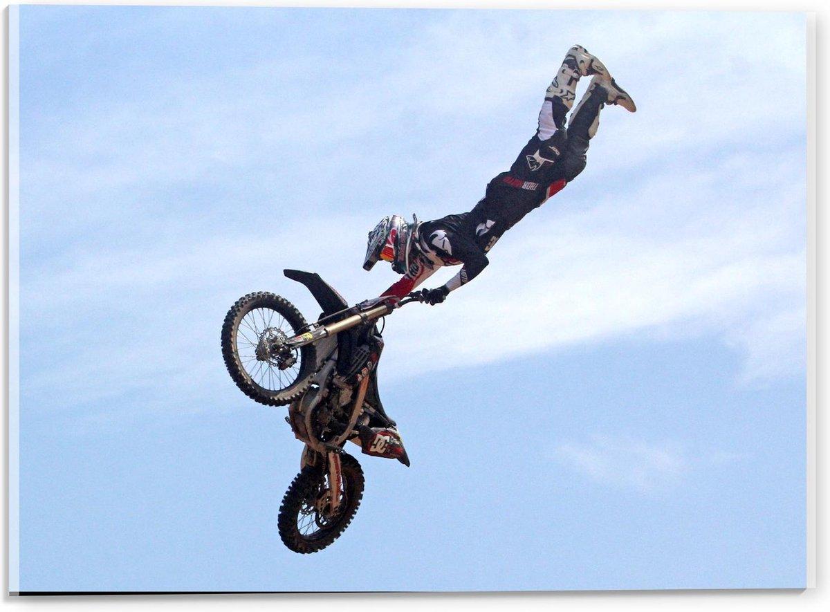 Plexiglas - Motorcrosser in de Lucht met Motor - 40x30cm Foto op Plexiglas (Wanddecoratie op Plexiglas)