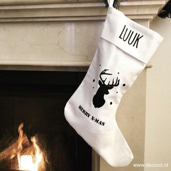 Kerstsok Merry X-Mas - Witte kerstsok - Christmas Stockings - Kerstdecoratie - Kerstsok met naam