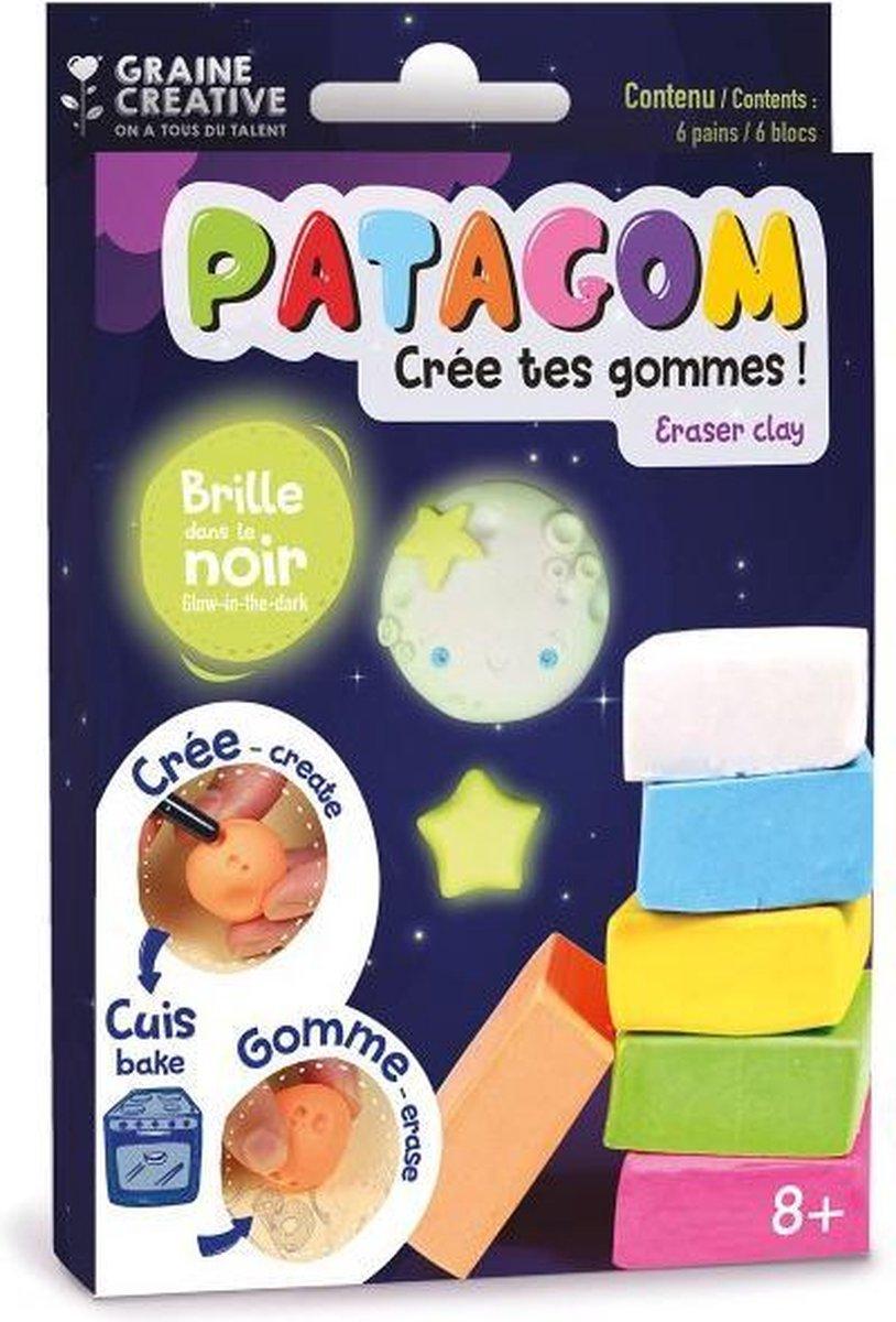 Maak je eigen gum   Gum Klei   Patagom 6 blokjes, glow in the dark