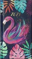 Afbeelding van Agenda Tropical Blauw - Pocket 2021 - 8,5x15,5cm - 1week/2pagina - Hardcover