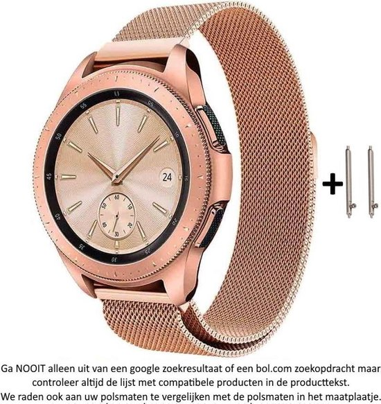 Rose Goud kleurig Metalen bandje Milanees voor 20mm Smartwatches (zie compatibele modellen) van Samsung, Pebble, Garmin, Huawei, Moto, Ticwatch, Citizen en Q – 20 mm pink milanese smartwatch strap - Rose Gold - Roze