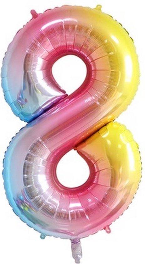 Folie Ballonnen XL Cijfer 8 , Blauwe Regenboog, 86cm, Verjaardag, Feest, Party, Decoratie, Versiering, Miracle Shop