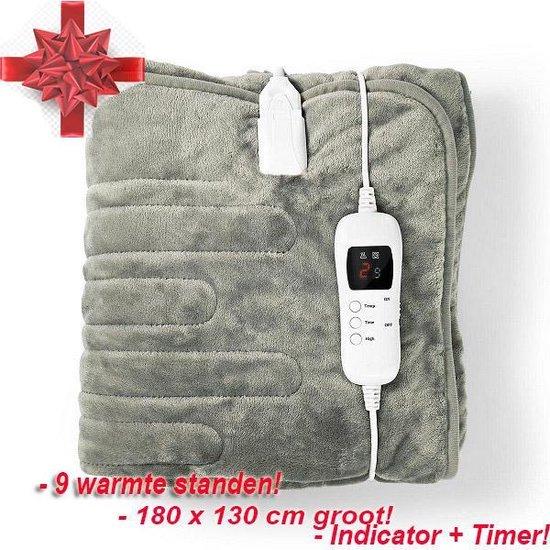 Elektrische Deken 1 - 2 persoons 180 X 130 Cm = GROOT! Nedis PEBL140CWT Bovendeken * 9 Warmtestanden met - Timer - Indicatorlampje - Overheat Protection - Super luxe * kado ( of voor * uzelf ) tijdens de koude dagen! Nog 5 stuks!