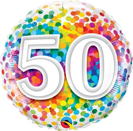 Folie cadeau sturen helium gevulde ballon 50 jaar confetti 45 cm - Folieballon verjaardag versturen/verzenden