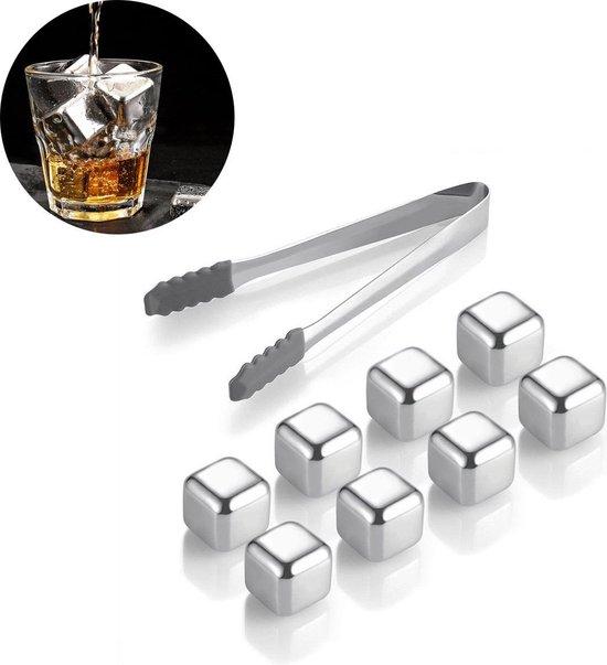 Whiskey Stones Set (8 stuks) Incl. Tang - Whisky Stenen - Luxe Cadeau Set Man Vrouw - Herbruikbare ijsblokjes - Icecubes met tang 8 Stuks