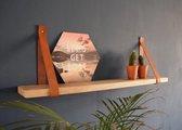 Set van 2 stuks!! Leren Plankdragers Cognac,  92 x 4 cm. incl. bevestigingsmateriaal, exclusief plank