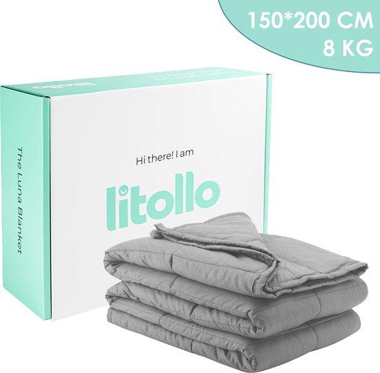 Luna Verzwaringsdeken - Ventilerend Bamboe materiaal - Weighted Blanket - Grijs - 150x200cm - 8kg