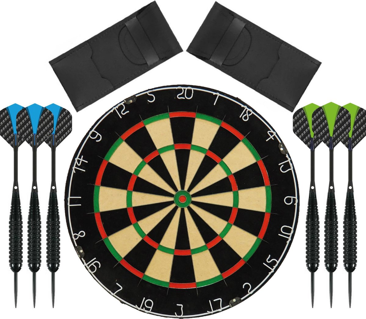 Dragon Darts - complete black 180 dartset - dartbord - plus 2 sets complete - dartpijlen - dartset - darts