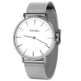 Yolora Dames Horloge met 120 Kalpa Camaka Kristallen - ⌀ 37 mm - Zilverkleurig Edelstaal - 18K Witgoud Verguld - Stainless Steel - Zilver RVS - Vrouwen Sieraden - Geschenkdoos - Cadeau doos - Exclusieve Geschenkverpakking - Mooie Cadeauverpakking