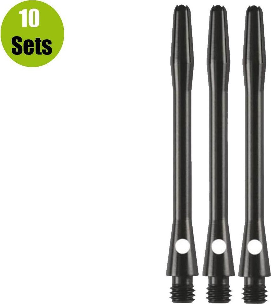 Aluminium Dart Shafts - Zwart - Short - (10 Sets)