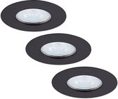 Set van 3 dimbare LED inbouwspots Bari zwart GU10 5 Watt 6000K IP65 spatwaterdicht