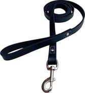 Hondenriem - 180cm - Zwart - leren hondenriem met stiksels - 100% volnerfleer - honden riem leer