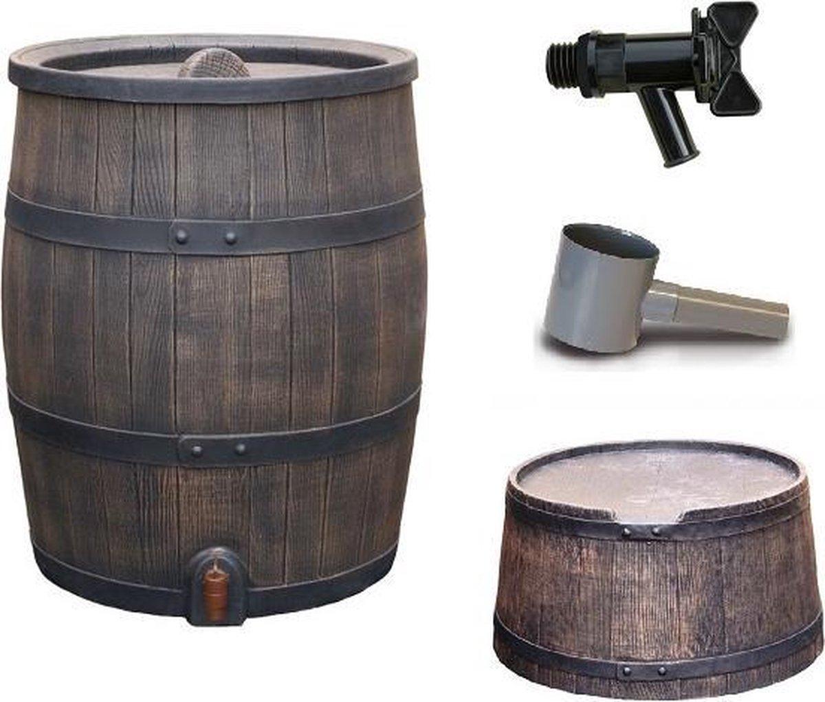 Regenton voordeelset | Roto 120 liter bruin + aftapkraan + standaard + vulautomaat 70/80mm.