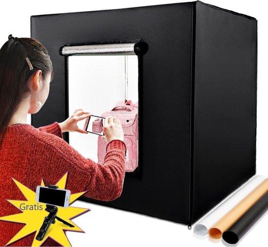 JGS Fotostudio Set - Draagbaar - Fotobox - LED verlichting  - 80x80x80 cm - Fototent - Opnametent - Mini Statief - 3 Achtergronden