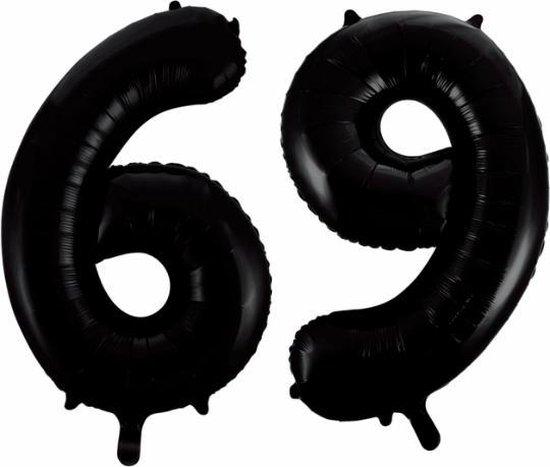 Folieballon 69 jaar zwart 86cm