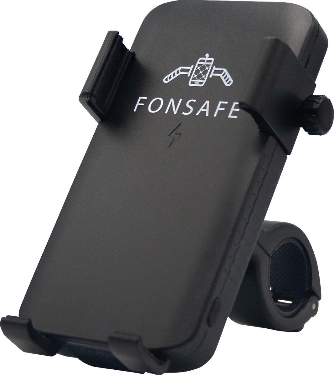 FONSAFE® 3 in 1 Telefoonhouder Fiets met Powerbank en LED Lamp - Universeel Schokbestendig - Fietsla