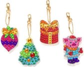 "Diamond Painting ""JobaStores®"" Sleutelhanger Set Kerst 09 (4 stuks)"