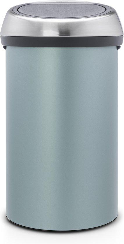Brabantia Touch Bin Prullenbak - 60 l - Metallic Mint met Matt Steel Fingerprint Proof deksel
