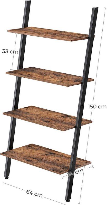 Bol Com Vasagle Staand Rek Ladderrek Wandrek Met 4 Niveaus Industrieel Design Boekenkast