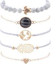 Nr. 9 - Armbanden set Ibiza Style - armband met hartje - Grijze armbanden set 5-delig - Multi