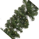 Groene dennen guirlande/dennenslinger inclusief warm witte verlichting - Dennenslingers/kerstslingers kerstversiering/kerstdecoratie