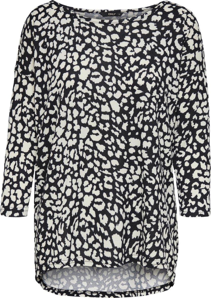 Only Elcos 4/5 Print Dames T-Shirt Zwart - Maat S
