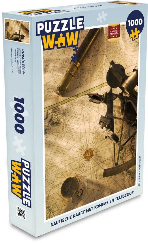 Puzzel 1000 stukjes volwassenen Ouderwets navigatiemateriaal 1000 stukjes - Nautische kaart met kompas en telescoop  - PuzzleWow heeft +100000 puzzels