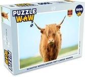 Puzzel 1000 stukjes volwassenen Schotse Hooglanders  1000 stukjes - Schotse hooglander met lange haren  - PuzzleWow heeft +100000 puzzels