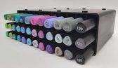 DécoTime 36x Handlettering Markers (GROEN) in Storage System -Alcohol twinmarkers - Metallic Twinmarkers - Calligraphy Twinmarkers - Twinmarkers - Kleuren op nummer - Stiften - Totaal 72 Tips - Kleuren - Professionele Twinmarkers- Markers - Set -