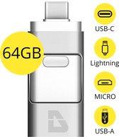 USB Stick 64GB - Flashdrive voor iPhone / iOS / Android / Windows 64GB - Flash Drive 4 In 1 - T05