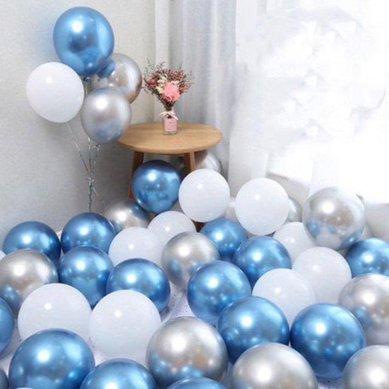 Geboorte ballonnen set Jongen   Zilver - Wit - Blauw   Baby - Boy   9 stuks (kleine ballon 5 inch)   Babyshower - Kraamfeest - Kraamborrel - Decoratie - Feest - Kraamtijd - Kraamborrel - Versiering   Zoon - Broertje