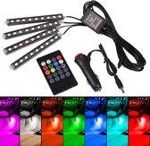 Premium RGB led strips voor in de auto - Incl. afstandsbediening - 4 led strips - Sigaretten aansteker