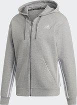 adidas - M MH 3S FZ - medium grey heather/white - Mannen - Maat L