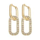 Diamond Double oorbellen – Goud met diamanten - Set oorbellen