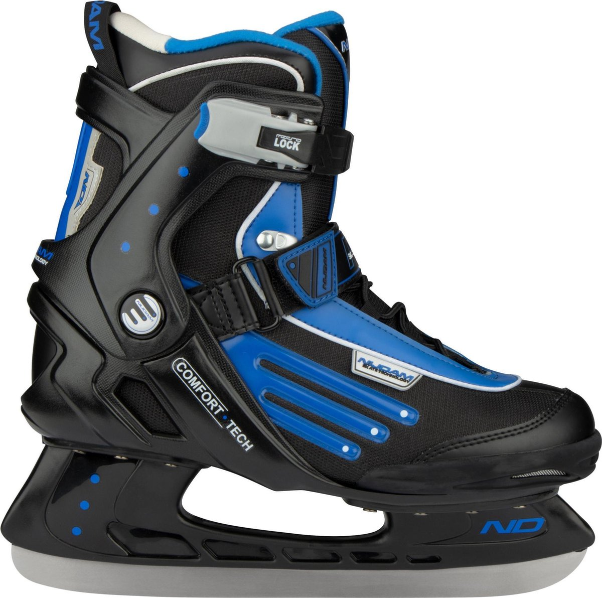 Nijdam IJshockeyschaats - Semi-Softboot - Zwart/Blauw/Zilver - 38