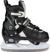 Nijdam Junior IJshockeyschaats - Verstelbaar - Semi-Softboot - Zwart/Wit - Maat 29-32