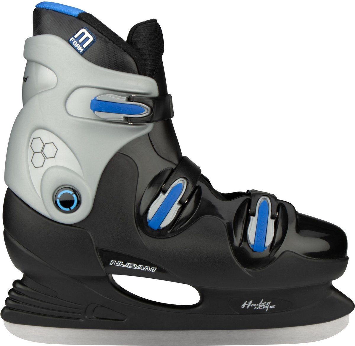 Nijdam IJshockeyschaats - Hardboot - Zwart/Blauw - Maat 35