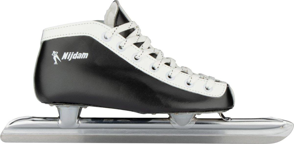 Nijdam 0098 Norenschaats Laag - Leder - Zwart - Maat 37