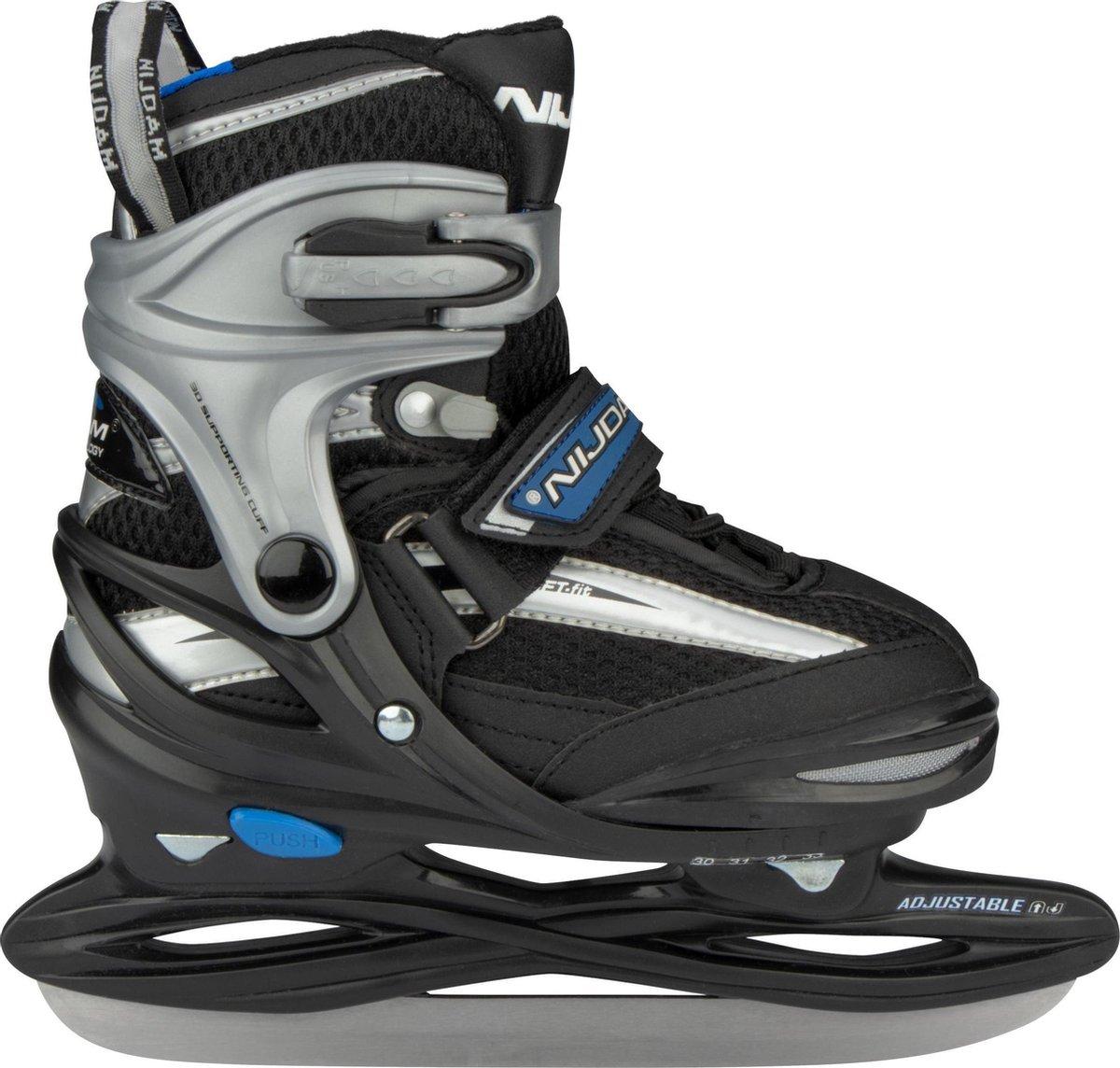 Nijdam Junior IJshockeyschaats - Verstelbaar - Semi-Softboot - Grijs/Zwart - Maat 34-37