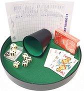 Compleet Dobbelset/Yahtzee Deluxe. Pokerpiste 26cm, beker, dobbelstenen en groot scoreblok + gratis speelkaarten