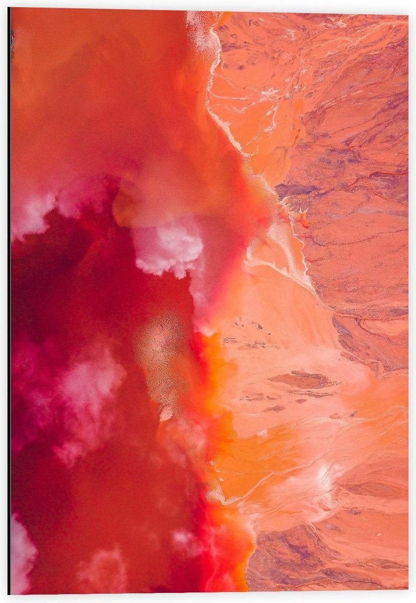 Dibond - Verfmix Rood/Oranje/Roze - 40x60cm Foto op Aluminium (Met Ophangsysteem)