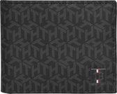Tommy Hilfiger - TH monogram mini cc wallet - heren - black monogram