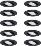 Set van 10 dimbare LED inbouwspots 5 Watt 2700K warm wit kantelbaar