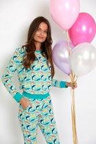 Happy Pyjama's - Pyjamaset met Dolfijnen print   pyjama dames volwassenen  lange mouwen van katoen   maat: XL