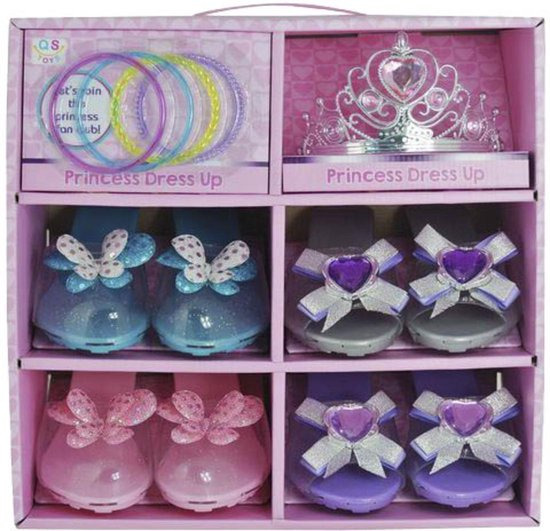 Prinsessen speeldoos - tiara, armbanden en 4 paar prinsessen muiltjes