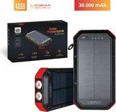 Lideka® Solar Powerbank 30000mAh - USB C - Powerbank Zonne Energie - 4x USB - Samsung en Iphone