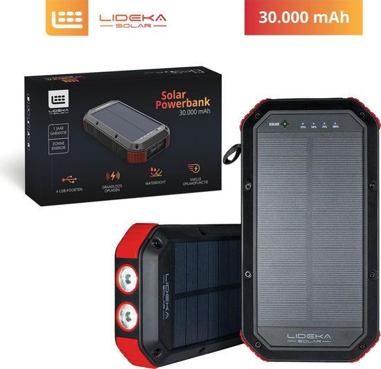 Lideka®️ Solar Charger Powerbank 30.000 mAh - USB C - Waterdicht - 4 USB-poorten - Zonneenergie