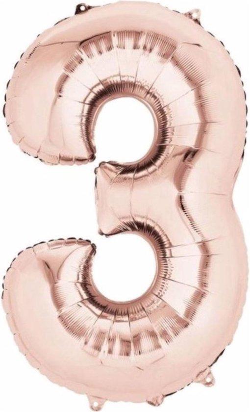 Ballon Cijfer 3 Jaar Rose Goud Verjaardag Versiering Rose Rose Gouden Helium Ballonnen Feest Versiering 86Cm Met Rietje